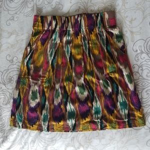 CAbi multi-colored A-line Skirt w/ pockets Small